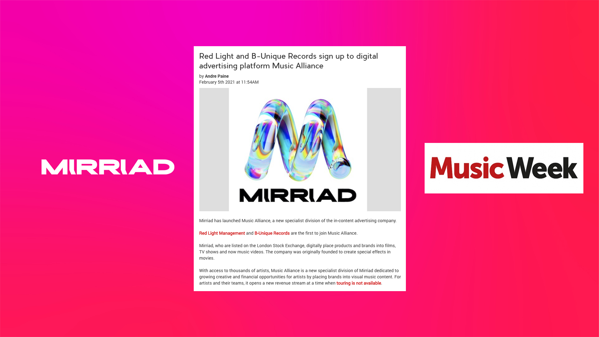 B-Unique Records who have an incredible global roster of artists joins Mirriad's Music Alliance